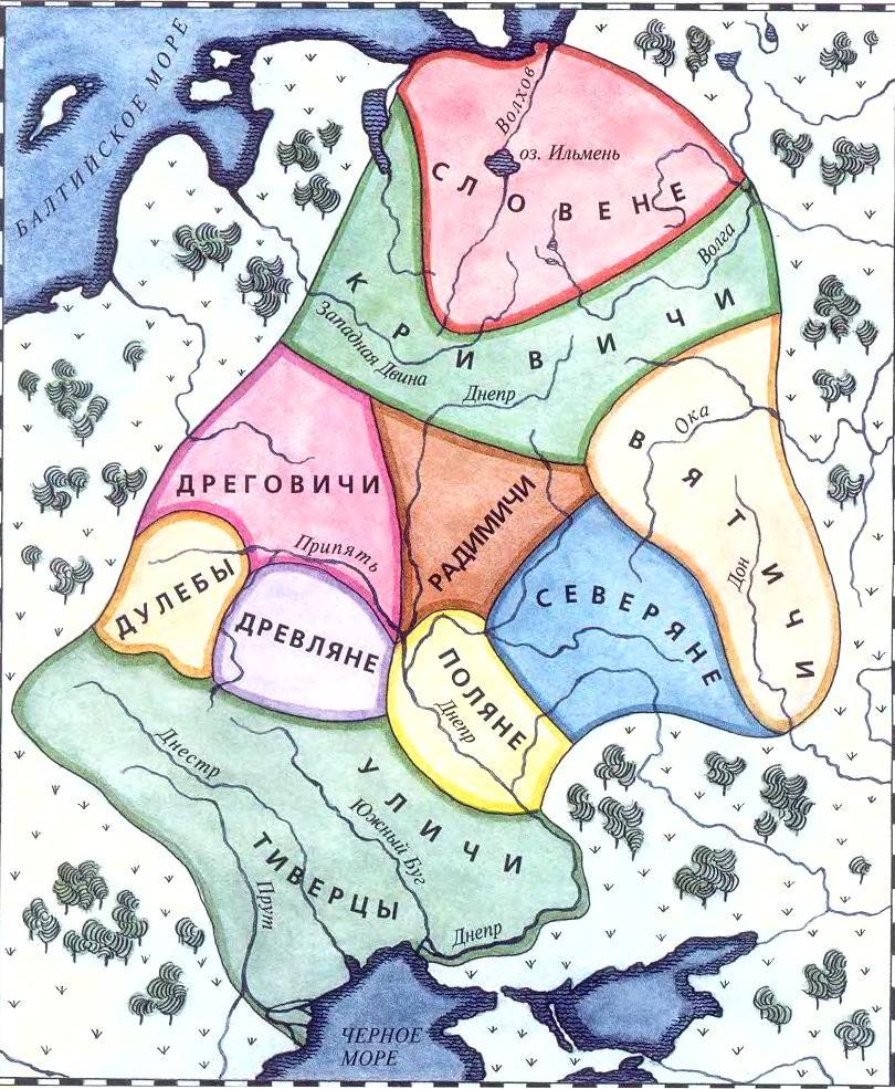 Карта расселения восточнославянских племен